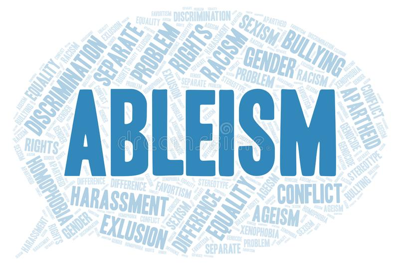 Ableism - type of discrimination - word cloud. Wordcloud made with text only vector illustration