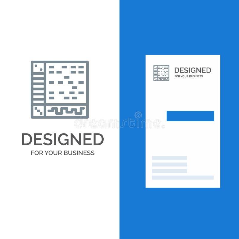 Ableton、应用、音频、计算机、凹道灰色商标设计和名片模板 皇族释放例证