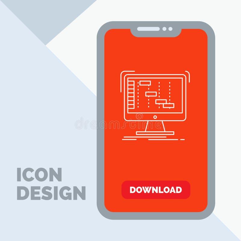 Ableton, toepassing, daw, digitaal, het Pictogram van de sequencerlijn in Mobiel voor Downloadpagina stock illustratie