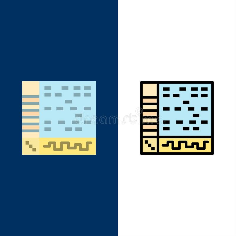 Ableton, uso, audio, ordenador, iconos del drenaje El plano y la línea icono llenado fijaron el fondo azul del vector stock de ilustración