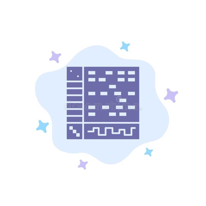 Ableton, zastosowanie, audio, komputer, Rysuje Błękitną ikonę na abstrakt chmury tle ilustracja wektor