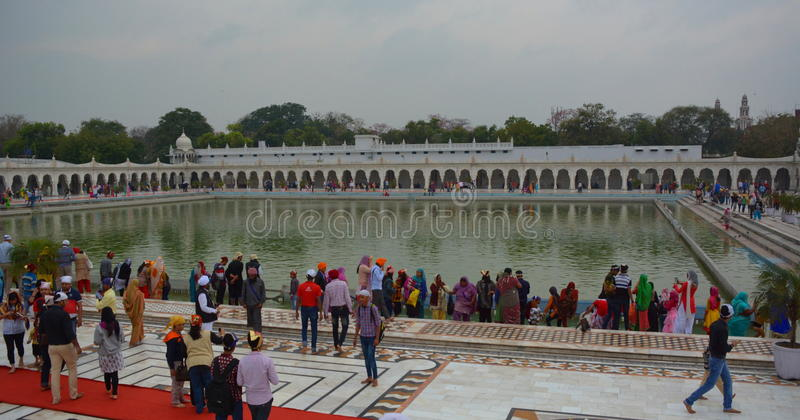 Ablution pond. Gurdwara Bangla Sahib temple. Delhi. India. Gurdwara Bangla Sahib is the most prominent Sikh house of worship. It is situated near Connaught Place royalty free stock images