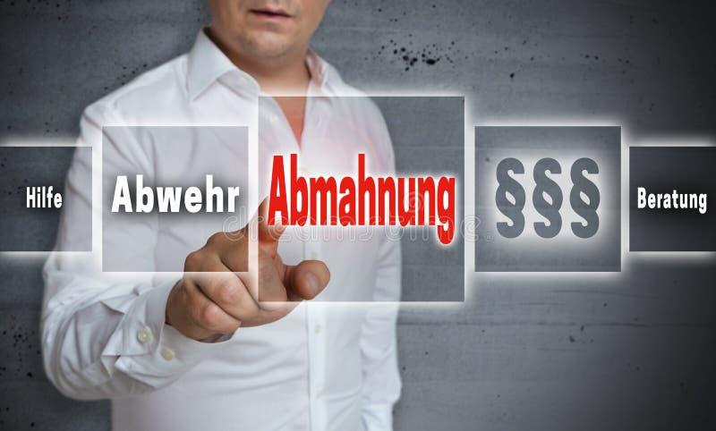 Abmahnung na advertência alemão, defesa, ajuda, conceito do conselho imagem de stock