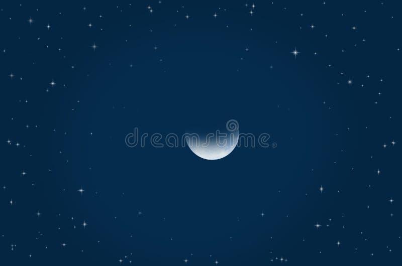 Abnehmender Mond und helle Sterne in der sichelförmigen Nacht stock abbildung