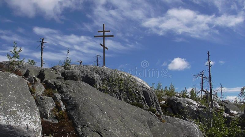 Vottovaara Karelia. Abnormal mountain in Karelia, ugly trees, mystical landscapes. There are more than one and a half thousand stone sades. The sinister secret royalty free stock images