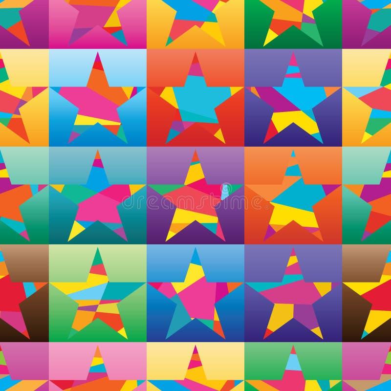 Abnutzungsmodefarbhemdes des Sternes quadratisches buntes nahtloses Muster des flachen stock abbildung