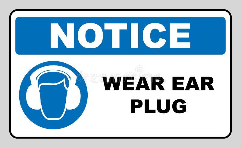 Abnutzungsohrenschützer oder -Ohrenstöpsel lizenzfreie abbildung