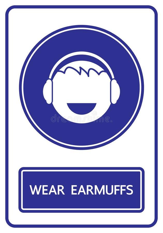 Abnutzungsohrenschützerzeichen und -symbol lizenzfreie abbildung