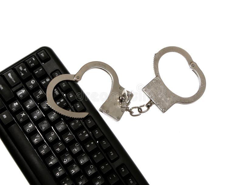 Abofetea al pirata informático de la ley de ordenador del crimen imágenes de archivo libres de regalías