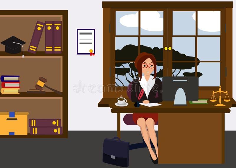 Abogado de la mujer en su escritorio del trabajo Chica joven hermosa que se sienta en la tabla, trabajando con PC Diseño lindo de ilustración del vector