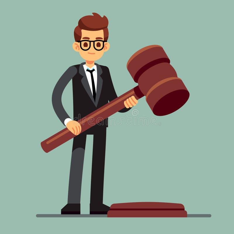 Abogado del negocio que sostiene el mazo de madera del juez Veredicto legal, concepto del vector de la autoridad de la legislació ilustración del vector
