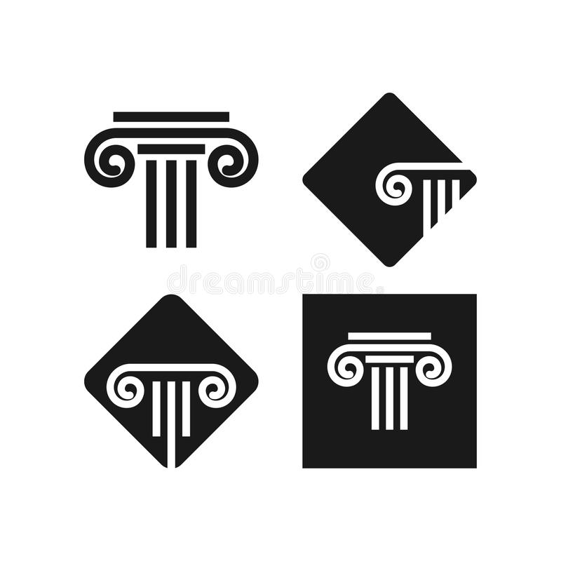 Abogado en la plantilla del icono del logotipo de la ley imagenes de archivo