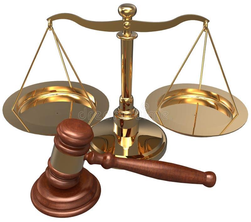 Abogado legal de la justicia del abogado del mazo de la escala stock de ilustración
