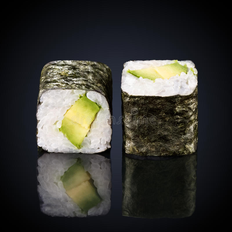 Abogado roru rolls with avocado stock image