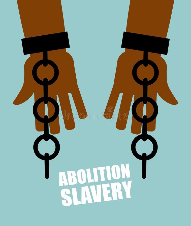 Abolition d'esclavage Esclave de noir de mains avec les chaînes cassées shat illustration stock