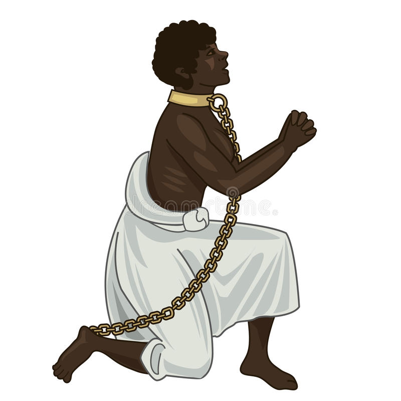 Abolition Of Slavery. Towards Freedom. Woman In Chains. vector illustration