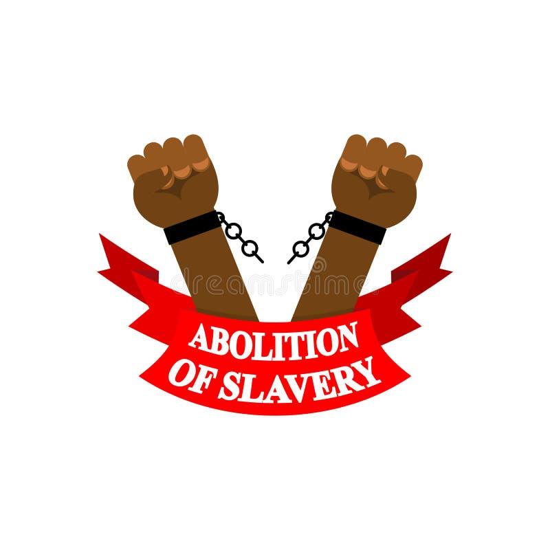 Abolizione di schiavitù Schiavo del braccio con i dispositivi d'ancoraggio rotti E royalty illustrazione gratis