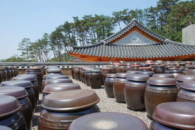 Abondance des pots au kimchi prepar image libre de droits