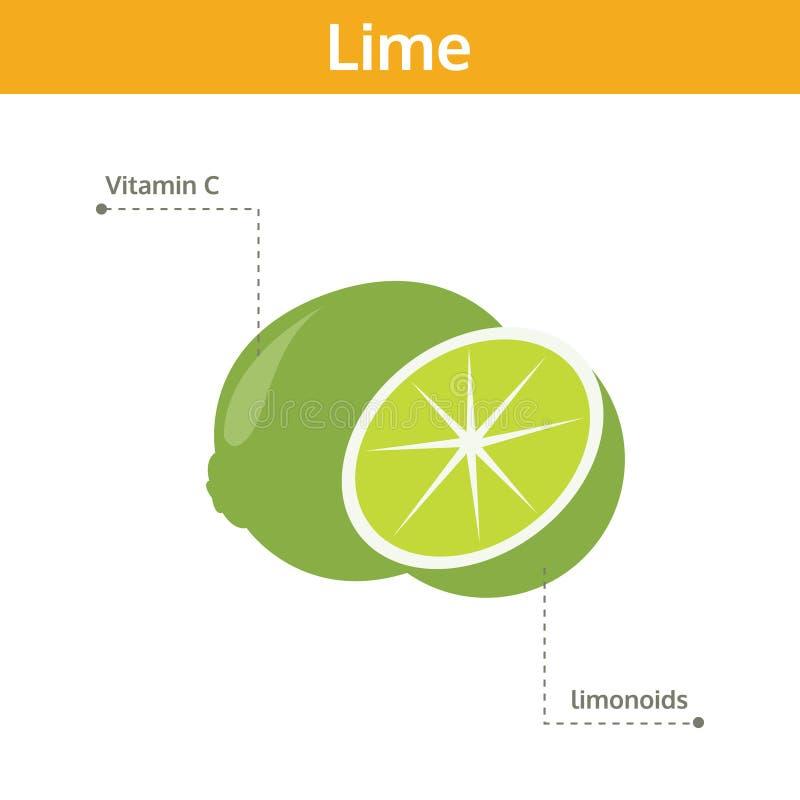 Abone el alimento con cal de hechos y de subsidios por enfermedad, fruta del gráfico de la información libre illustration