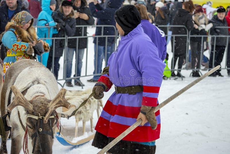 """Aborígenes locales - Khanty, niños del paseo en un trineo del reno de tres ciervos, trineo, invierno, """"Seeing de festival del  imagen de archivo"""