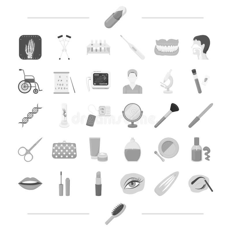 Aboratory, de kosmetiek, make-up en ander Webpictogram in zwart-wit stijl potlood, kam, geneeskundepictogrammen in vastgestelde i royalty-vrije illustratie