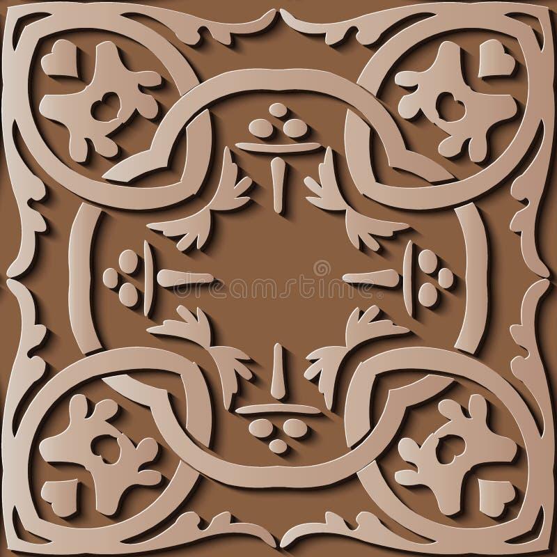 Aborigi retro del marrón del modelo del alivio de la decoración inconsútil de la escultura stock de ilustración