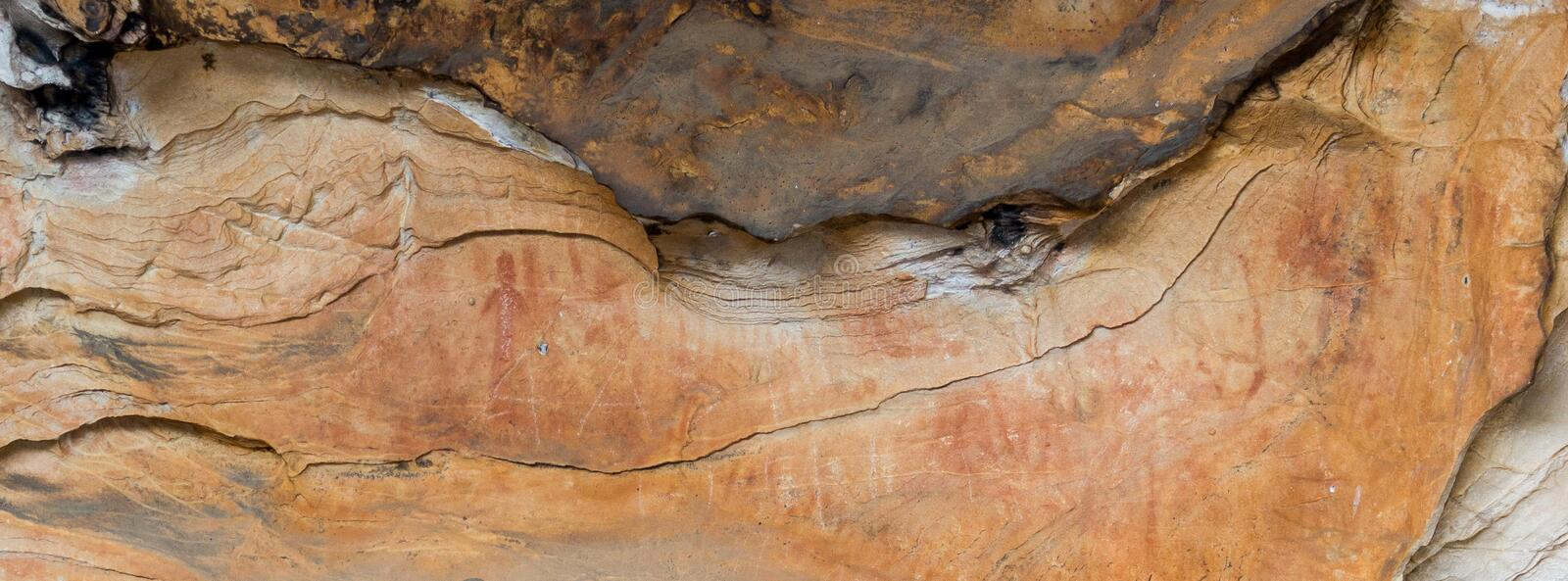 Aboriginal Art: human painting in a cave, grampians national park royalty free stock photo