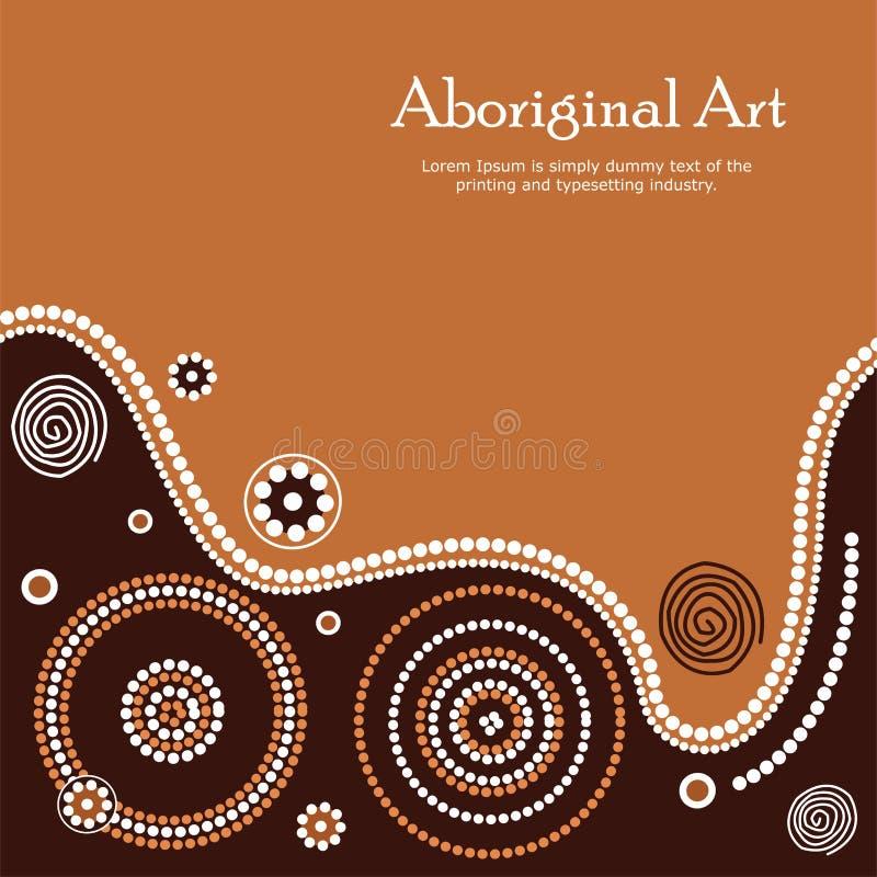 Aboriginal art illustration. Vector Banner with text. Illustration based on aboriginal style of dot painting stock illustration