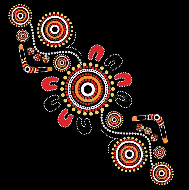 Aboriginal art vector background. Illustration based on aboriginal style of dot painting vector illustration