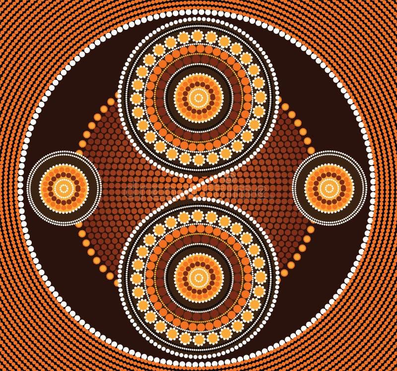 Aboriginal art vector background. Illustration based on aboriginal style of dot painting royalty free illustration