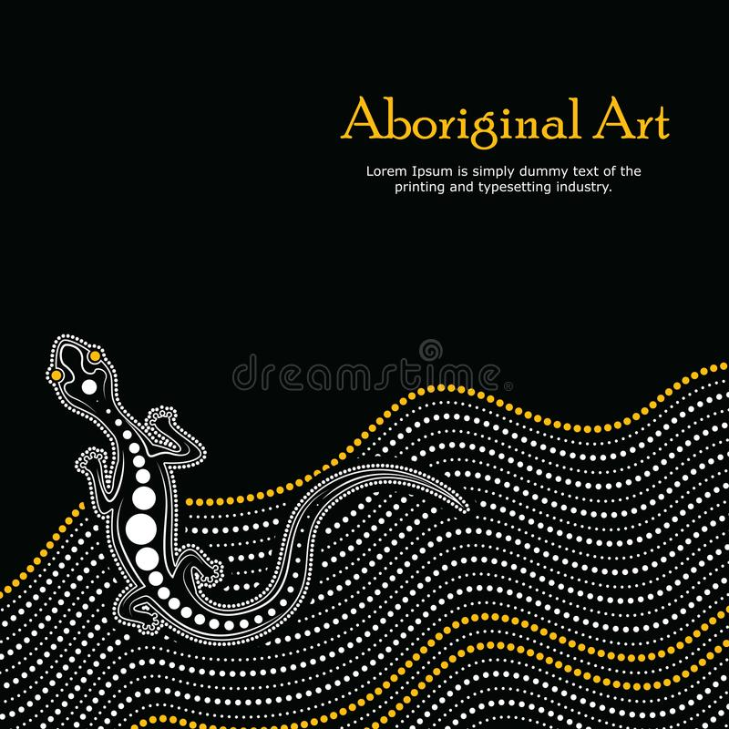 Aboriginal art vector Banner with text. Illustration based on aboriginal style of background vector illustration