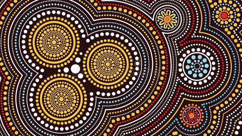 Aboriginal art vector painting, Connection concept, Illustration based on aboriginal style of dot background. Vector illustration vector illustration