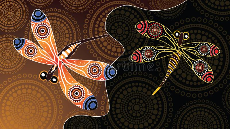 Aboriginal art vector painting with dragonfly. Illustration based on aboriginal style of landscape background royalty free illustration