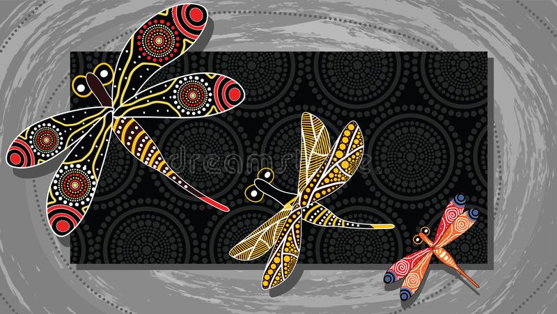 Aboriginal art vector painting with dragonfly. Illustration based on aboriginal style of landscape background vector illustration