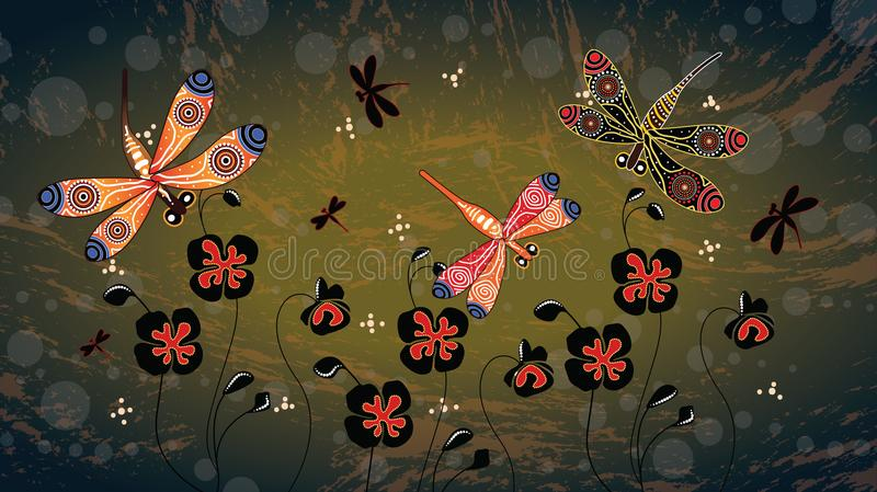 Aboriginal art vector painting with dragonfly and poppy flowers vector illustration