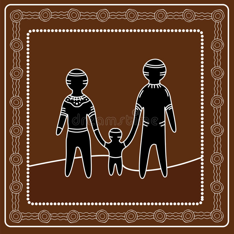 Aboriginal art vector painting. Happy family concept. Illustration based on aboriginal style of dot painting royalty free illustration