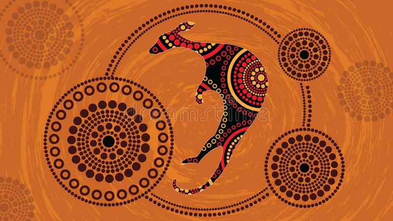 Aboriginal art vector painting with kangaroo.Based on aboriginal style of landscape dot background. Aboriginal art vector painting with kangaroo. Illustration vector illustration