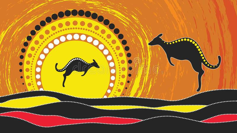 Aboriginal art vector painting with kangaroo. Based on aboriginal style of landscape dot background. vector illustration