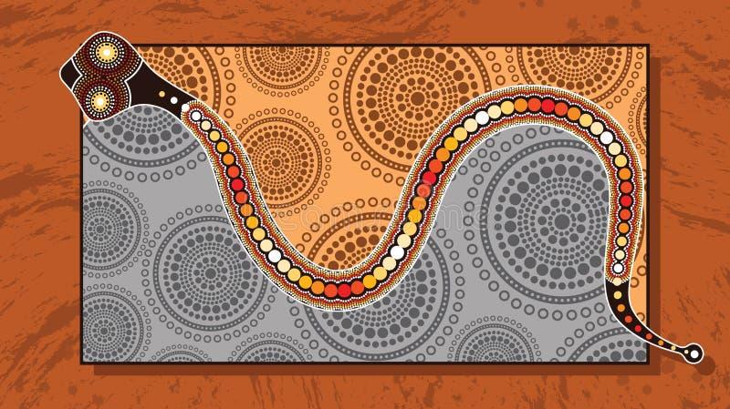 Aboriginal art vector painting with snake. Illustration based on aboriginal style of landscape background stock illustration