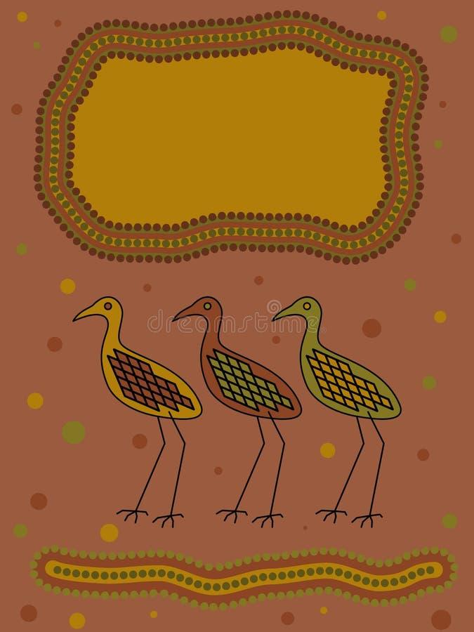 Aboriginal Bird Design stock illustration