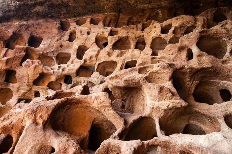 Aboriginal caves in Gran Canaria royalty free stock photo