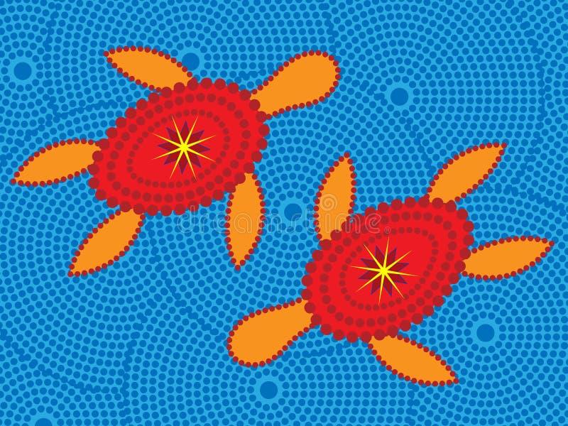 aboriginal designsköldpadda royaltyfri illustrationer