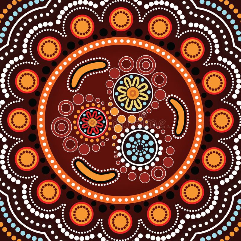 Aboriginal dot art background with boomerang. Vector illustration stock illustration