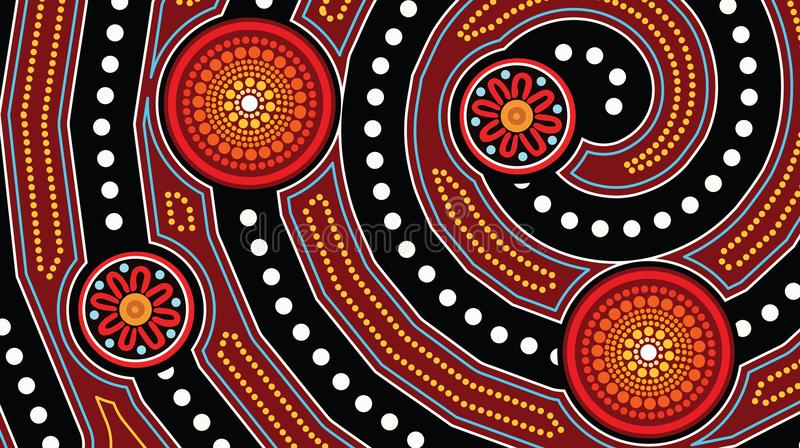 Aboriginal dot art background - Vector illustration. Aboriginal dot art background, Illustration based on aboriginal style of landscape background royalty free illustration