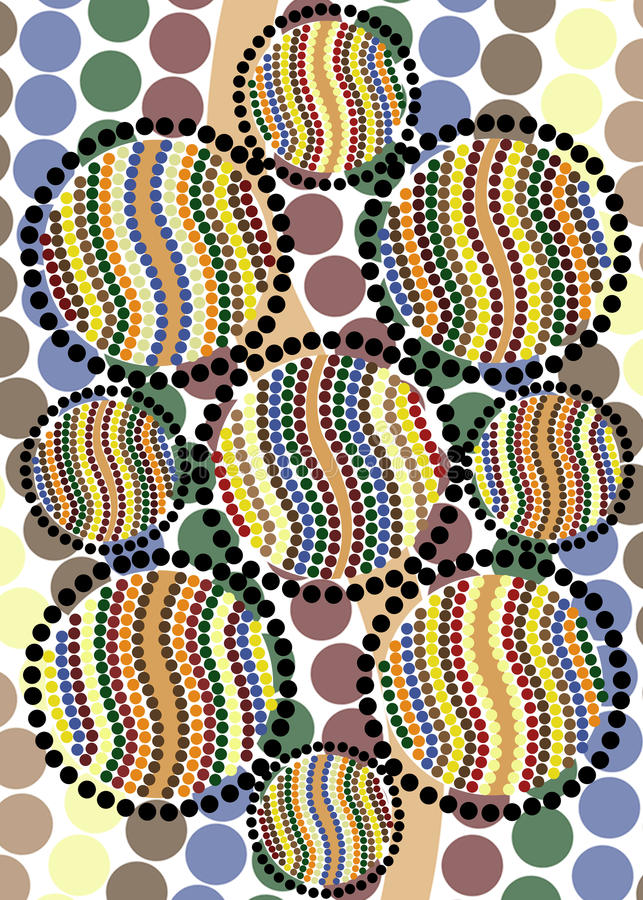 Aboriginal dot art homage. An abstract design in soft earth tones in homage to Aboriginal dot art, patterns and designs stock illustration