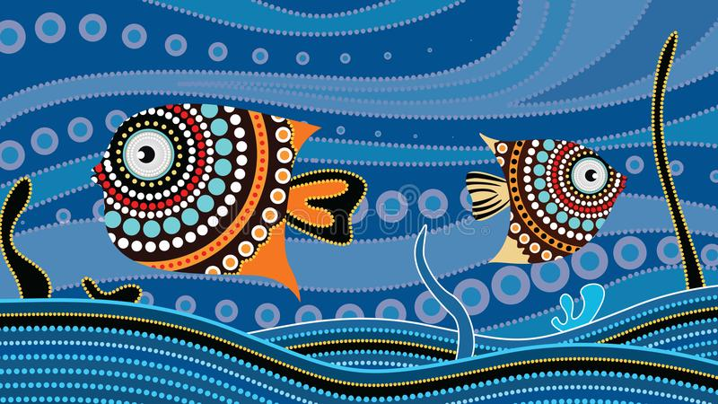 Aboriginal dot art painting with fish. Underwater concept, Landscape background wallpaper vector. Abstract vector illustration