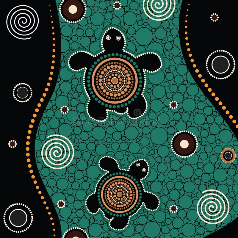 Aboriginal dot art vector painting. With turtle royalty free illustration