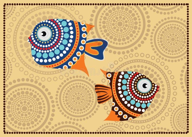 Aboriginal dot fish painting - Vector illustration. Aboriginal dot fish painting, vector dot art background vector illustration