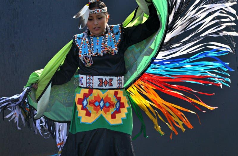 Aboriginal Fancy Dance. A young woman performs a fancy dance at Edmonton's Heritage Festival stock images