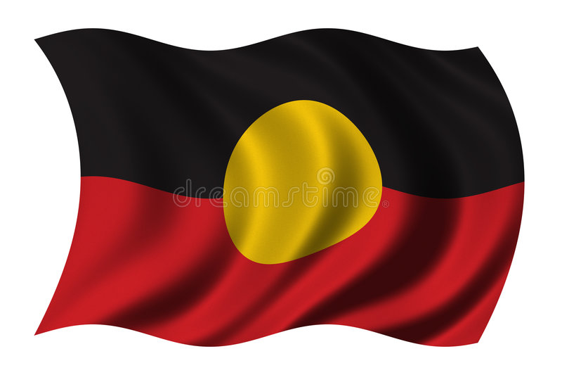 Aboriginal Flag. Waving in the wind - clipping path included royalty free illustration